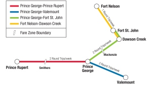 A map from BC Bus North shows the routes and fare zone boundaries.