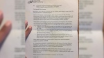 A letter handed out to patients at Yarmouth Regional Hospital's prenatal clinic explains that women who believe they are in labour or need emergency care may be turned away due to a shortage of anesthesiologists. (CTV News)