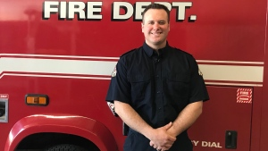 Kyle McAleese is a volunteer firefighter, works full-time as a crane operator, and he and his wife welcomed a baby girl into the world last week. (Saron Fanel/CTV Saskatoon)