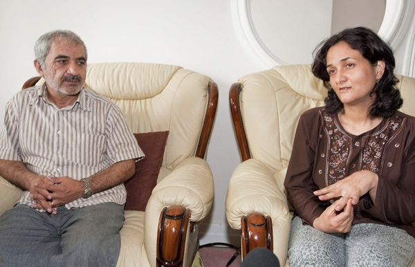 Mohammed Shafi and his wife Touba Yahya Shafi speak to reporters during an interview in Montreal on Friday, July 3, 2009. (Peter McCabe / THE CANADIAN PRESS)