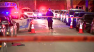 The victim was hit at least once in the upper body, explained SPVM spokesperson Manuel Couture, but was conscious upon officers' arrival. He was transported to hospital and is expected to pull through. (Cosmo Santamaria/CTV Montreal)