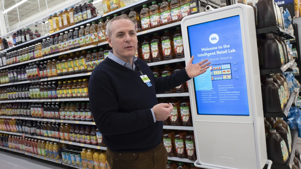 Mike Hanrahan, CEO of Walmart's Intelligent Retail Lab, at a Walmart Neighborhood Market, in Levittown, N.Y., on  April 24, 2019. (Mark Lennihan / AP)