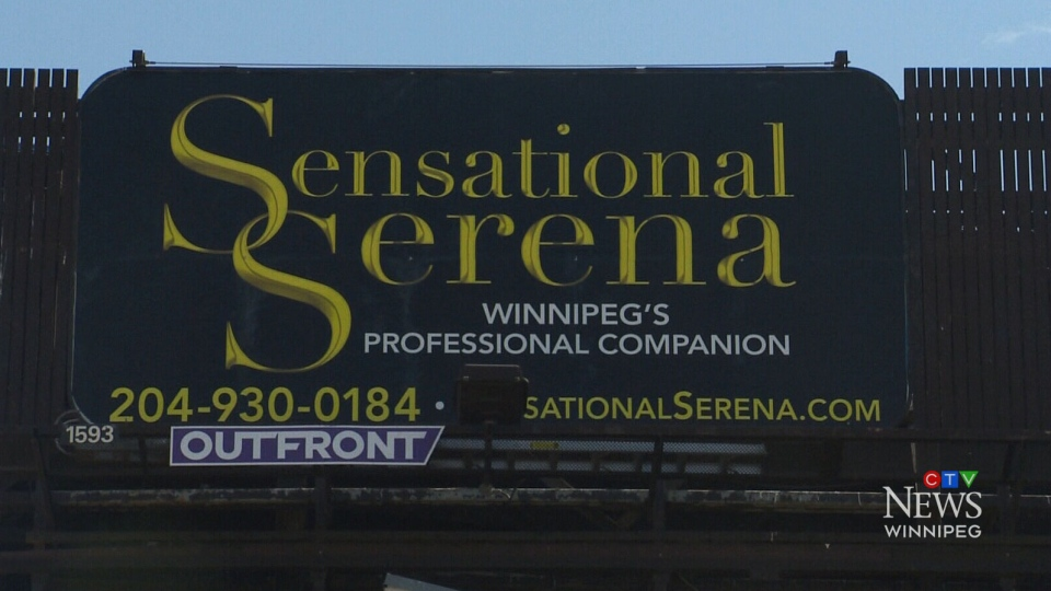 "The sign for ""Sensational Serena – Winnipeg's Professional Companion"" on Portage Avenue in Winnipeg is believed to be a first for the city. (CTV)"