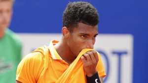 Felix Auger-Aliassime during his men's singles match against Kei Nishikori at the Barcelona Open Tennis Tournament, on April 25, 2019. (Manu Fernandez / AP)