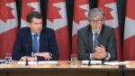 Michael McEvoy, Information and Privacy Commissioner for B.C., left, and federal privacy commissioner Daniel Therrien, speak at a press conference in Ottawa, Thursday, April 25, 2019.