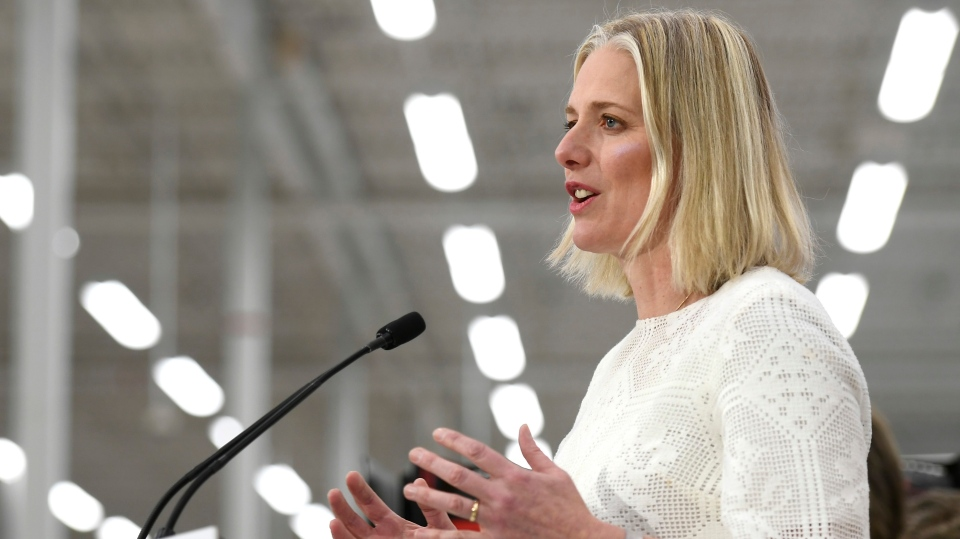 Minister of Environment and Climate Change Catherine McKenna speaks to reporters during a press conference on the Climate Action Incentive at a Canadian Tire store in Ottawa on Monday, March 4, 2019.  THE CANADIAN PRESS/Justin Tang