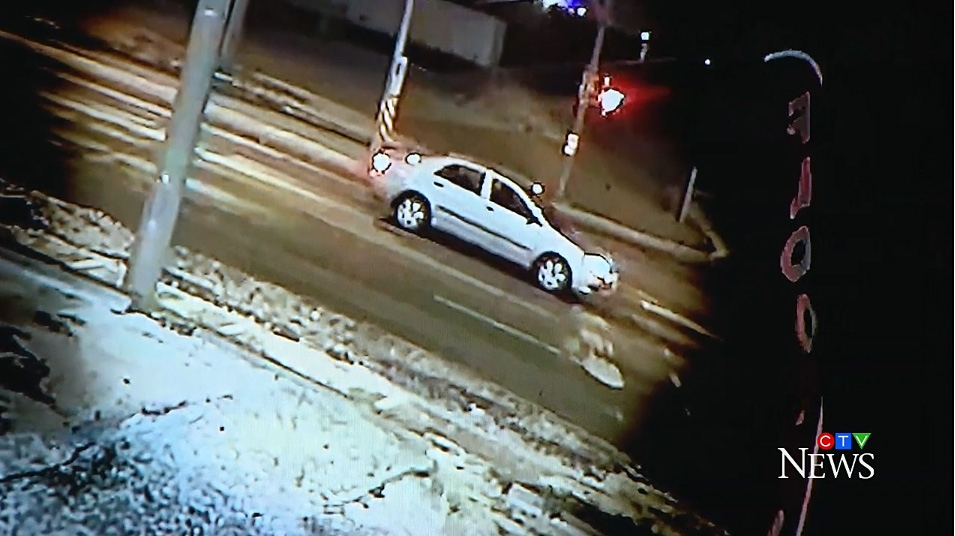 A screenshot image taken from video surveillance of a vehicle wanted in connection with a hit-and-run in Brampton. (Peel Regional Police)