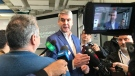Nova Scotia Premier Stephen McNeil speaks to reporters following a trade announcement in Dartmouth on April 25, 2019. (Natasha Pace/CTV Atlantic)