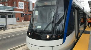 An LRT vehicle seen outside of Grand River Hospital on April 25, 2019. (Chase Banger / CTV Kitchener)