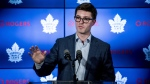 Toronto Maple Leafs general manager Kyle Dubas speaks to reporters after a locker clean out at the Scotiabank Arena in Toronto, on Thursday, April 25, 2019. (THE CANADIAN PRESS/Christopher Katsarov)