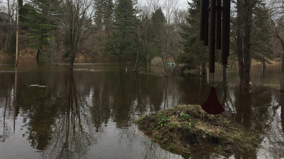 Bracebridge River Road during severe flooding on Wed., April 24, 2019