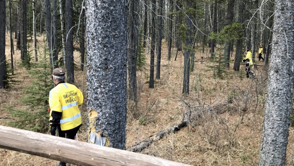 Search-and-rescue members scouring a wooded-area near Highway 22 and Highway 762 near Bragg Creek on April 25 in connection with the suspected deaths of Jasmine Lovett and Aliyah Sanderson