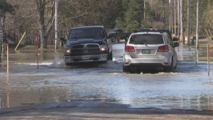 Motorists travel through washed-out roads in Minden on Thurs., April 25, 2019 (CTV News/Rob Cooper)
