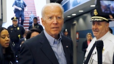 Former Vice President and Democratic presidential candidate Joe Biden arrives at the Wilmington train station Thursday April 25, 2019 in Wilmington, Delaware. Biden announced his candidacy for president via video on Thursday morning. (AP / Matt Slocum)