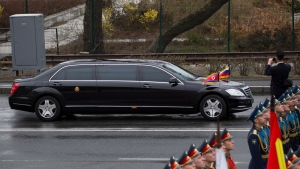 North Korean leader Kim Jong Un's limousine arrives for a wreath-laying ceremony in Vladivostok, Russia, Friday, April 26, 2019. (AP Photo/Alexander Khitrov)