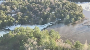 Water has been flowing over the Bell Falls Dam since earlier in the week, and on April 25, 2019 someone spotted a crack in the structure.