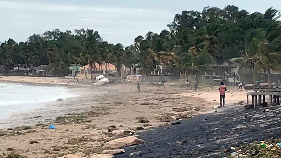 """This photo supplied by World Food Programme shows the Wimbi Beach in Pemba, Mozambique, after Cyclone Kenneth made landfall Friday, April 26, 2019. At least one person is reported dead and homes have been destroyed after the powerful cyclone struck northern Mozambique and continues to dump rain on the region, with the United Nations warning of """"massive flooding."""" Cyclone Kenneth arrived just six weeks after Cyclone Idai tore into central Mozambique, killing more than 600 people and displacing scores of thousands. (Nour Hemeci/World Food Programme via AP)"""