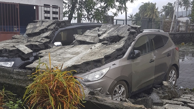 Cyclone damaged cars in Moroni, Comoros