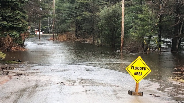 Roads are washed out in parts of Bracebridge, Ont. after days of flooding on April 26, 2019. (Sean MacInnes/CTV News Toronto)