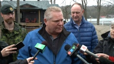 Ontario Premier Doug Ford speaks after touring a flood zone in Ottawa, Friday, April 26, 2019.