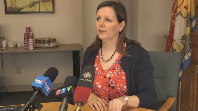Dr. Jennifer Russell, New Brunswick's chief medical officer of health, declares a provincial gonorrhea outbreak during a news conference in Fredericton on April 26, 2019.