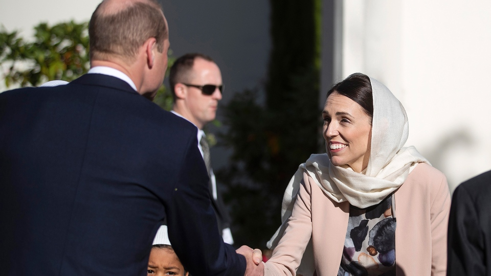 Prince William, left, shakes hands with New Zealand Prime Minister Jacinda Ardern during a visit to the Al Noor mosque in Christchurch, New Zealand, Friday, April 26, 2019. (Joseph Johnson / Pool Photo via AP)