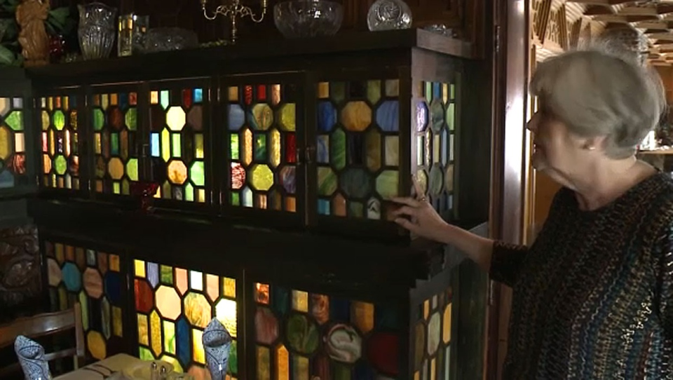 Marsha Negrych says Cobblestone Manor's unique stained glass windows are considered 'priceless' by appraisers.
