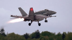 An RCAF CF-18 takes off from CFB Bagotville, Que. on Thursday, June 7, 2018. THE CANADIAN PRESS/Andrew Vaughan