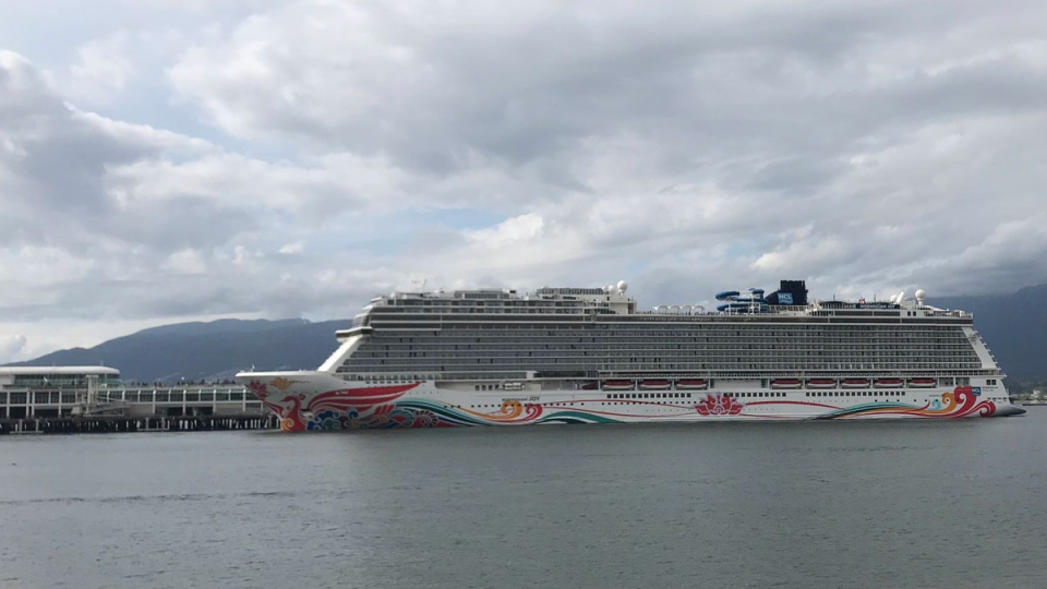 The Norwegian Joy is seen leaving Vancouver on Friday, April 26, 2019. (Breanna Karstens-Smith / CTV News Vancouver)