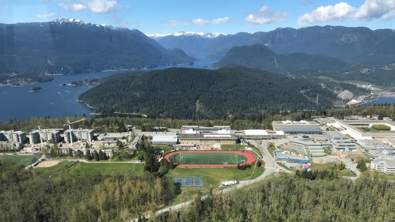 Simon Fraser University is seen from the air in April 2019. (Murray Titus / CTV News Vancouver)