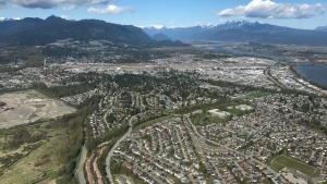 Port Coquitlam is pictured in this image captured in CTV News Vancouver's Chopper 9.