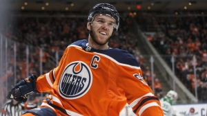 Edmonton Oilers' Connor McDavid (97) celebrates a goal against the Dallas Stars during second period NHL action in Edmonton, Alta., on Thursday March 28, 2019. McDavid is among the finalists for the Ted Lindsay award for a third straight season. (THE CANADIAN PRESS/Jason Franson)