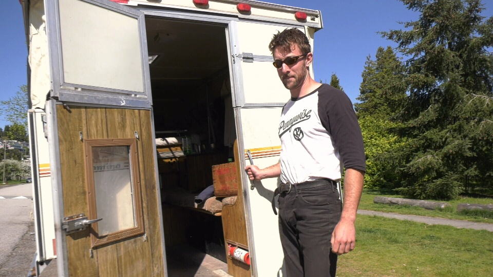 Jordan Marriott has spent the last seven years living with his dog in a small RV attached to his truck. (CTV)