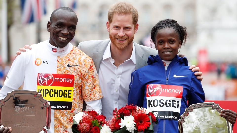 Prince Harry and London Marathon winner