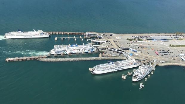 BC Ferries vessels are seen at Tsawwassen ferry terminal. (Murray Titus)