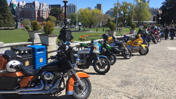 Motorcycles are seen in Victoria in this file photo from 2019.