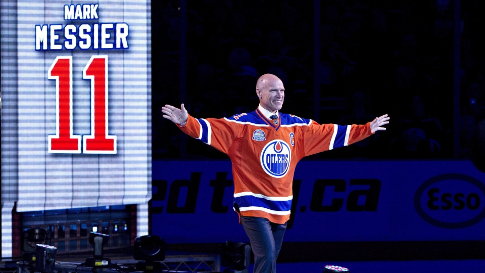 Former player Mark Messier waves to the crowd during the Edmonton Oilers farewell ceremony at Rexall Place in Edmonton, Alta., on Wednesday April 6, 2016. Messier is one of thousands of celebrities who have signed up with the website Cameo to deliver personalized video messages to fans. (THE CANADIAN PRESS / Jason Franson)