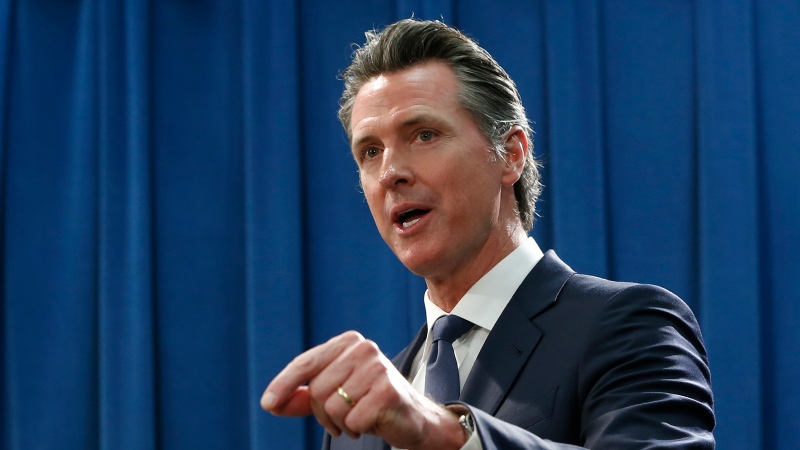 California Gov. Gavin Newsom discusses the weekend shooting at the Poway Chabad Synagogue north of San Diego during a news conference Monday, April 29, 2019, in Sacramento, Calif. (AP Photo/Rich Pedroncelli)