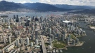 The Yaletown-False Creek area is seen from the air on Monday, April 29, 2019. (Murray Titus / CTV News Vancouver)