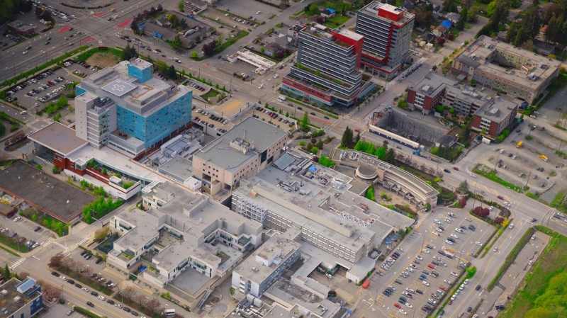 The Surrey Memorial Hospital campus is seen from the air in CTV News Vancouver's Chopper 9 in April 2019. (Gary Barndt / CTV News Vancouver)