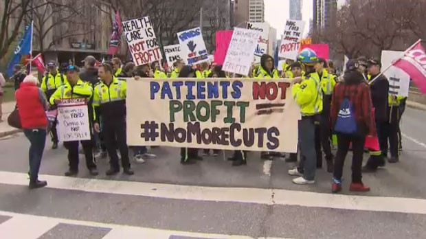 Workers and patients gathered outside Queen's Park on April 30, 2019 to protest changes being made to Ontario's health care system.
