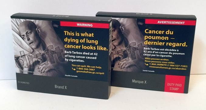 Canadian cigarette packs will have to be plain drab brown with standardized layouts and lettering under new rules that kick in next Nov. 9. (Photo: Canadian Cancer Society)