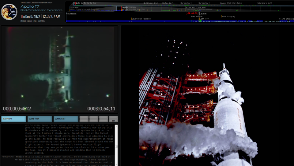The website Apollo17.org shows the progression of the Apollo 17 mission in real time.
