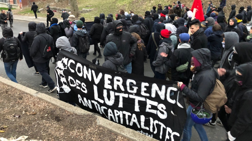A May Day protest takes to the Montreal streets to fight capitalism.