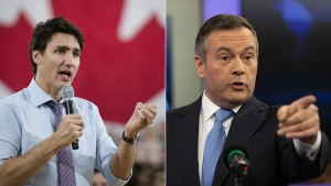 Justin Trudeau, left, and Jason Kenney are seen in this composite image. (The Canadian Press)