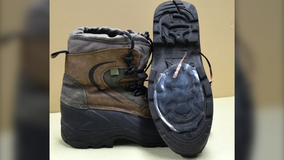 Here a prototype of the technology is placed on hiking boots. The technology could be used to monitor athletes and their performances during winter sports, such as hiking, skiing and cross-country skiing. (UCLA)