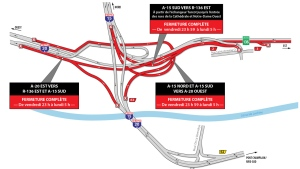 This is the map of Turcot Interchange closures for the weekend of May 3