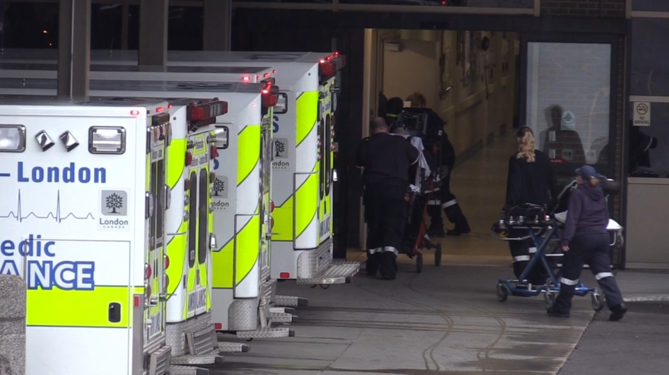 A back-up of ambulances sit outside a hospital in London, Ont. on Thursday, May 2, 2019. (Celine Moreau / CTV London)