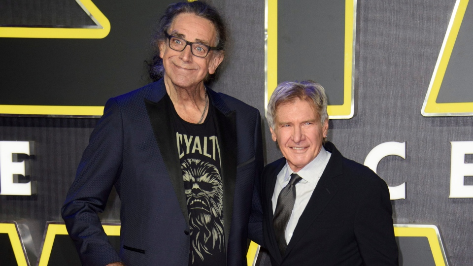 This Dec. 16, 2015 file photo shows Peter Mayhew, left, and Harrison Ford at the European premiere of the film 'Star Wars: The Force Awakens ' in London. (Photo by Jonathan Short/Invision/AP, File)