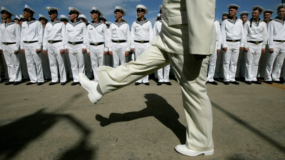 Russian sailors line up as they prepare for a welcoming ceremony for the presidents of Russia and Venezuela at La Guaira port, near Caracas, on Nov. 27, 2008. (Fernando Llano / AP)